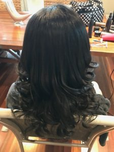 soft curls wedding special occasion styling hairdresser mobile brisbane chelley bean mobile hairdressing travel dark brown long hair