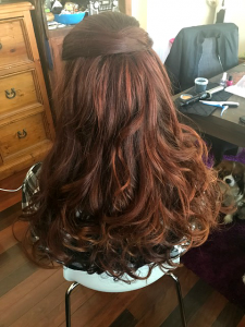 semi formal curls redhead special occasion styling brisbane mobile hairdresser chelley bean mobile hairdressing